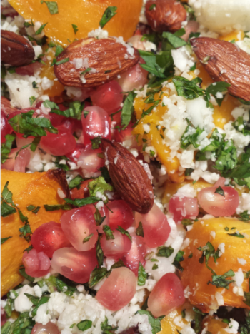 CAULIFLOWER COUSCOUS WITH ROASTED BUTTERNUT SQUASH, TOASTED ALMONDS & MINT