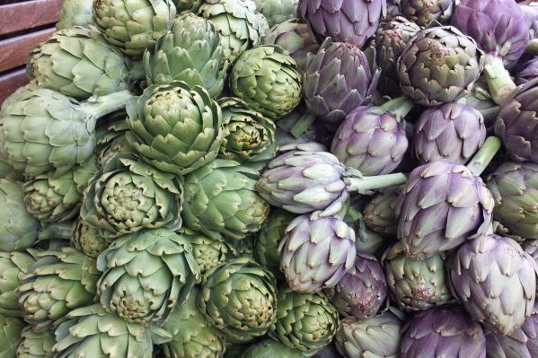 fresh green and purple artichokes