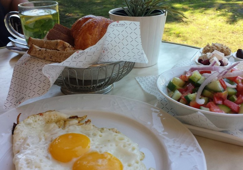 FRIED EGGS, ISRAELI SALAD & FRESH BREADS.....