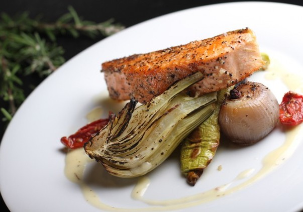 SALMON WITH ROASTED VEGETABLES & CREAM SAUCE